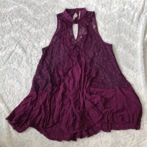 NWOT Free People Small Purple Secret Laced Slip